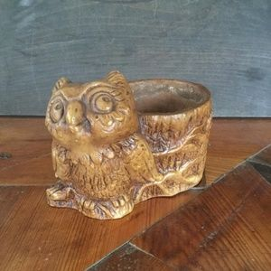 Vintage Owl Planter Small Indoor Planter Resin